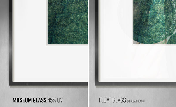 Museum Glass 45% UV protection vs. Float Glass