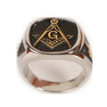 Cool Men Silver Gold Masonic Ring
