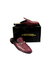 Governors Weaved Out Half Shoe With Horsebit Detail - Wine