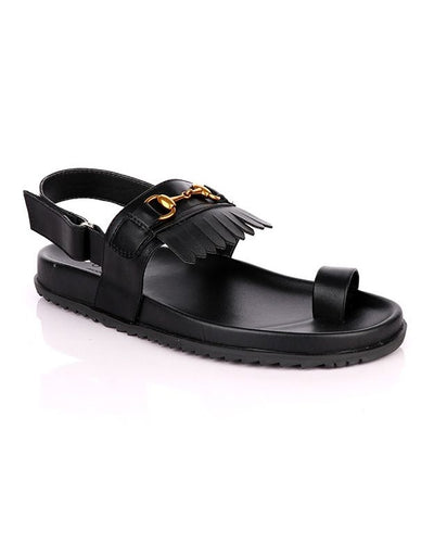 One Toe Black Finger Tassel Sandal