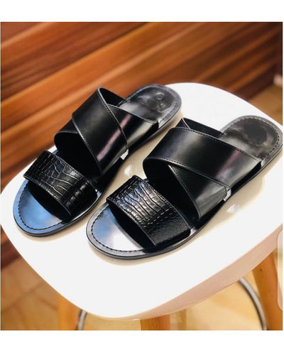 Baby Croc X Detail Leather Slippers