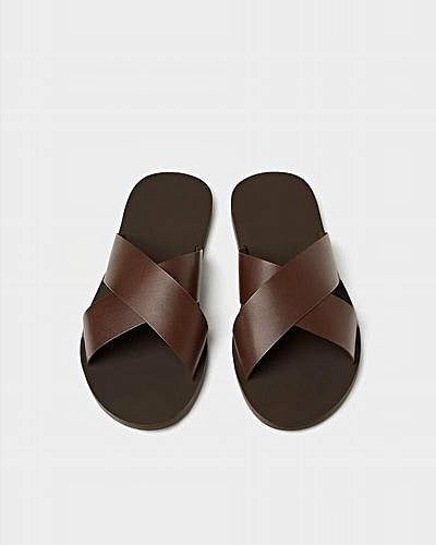 Brown Cross Leather Slippers