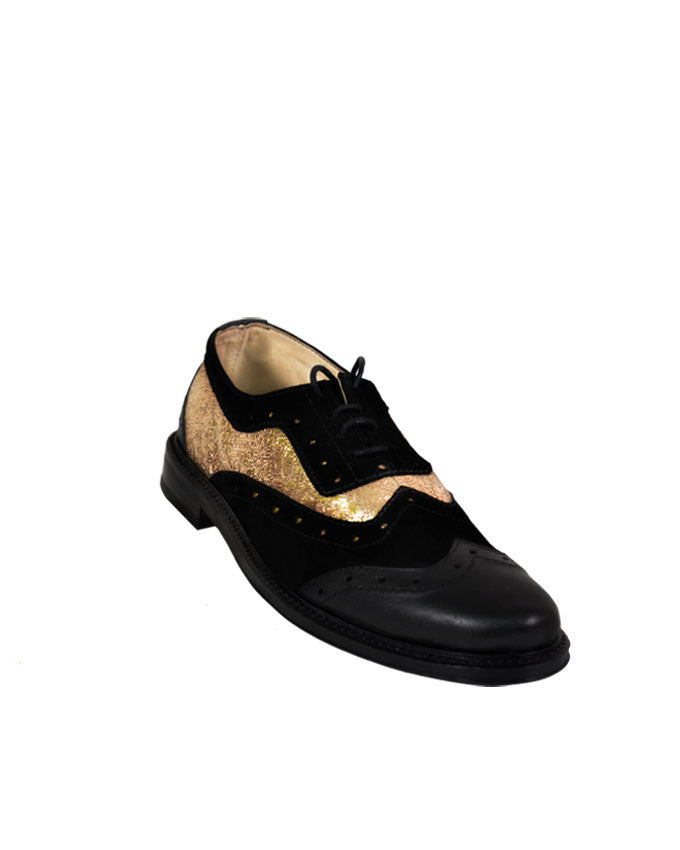 Men's leather and suede Black-Gold brogues