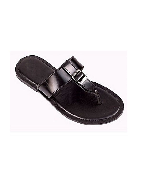 Top buckle Detail Leather Slippers