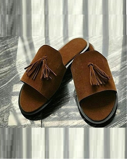 Brown Governors Suede Slippers with Tassel detail