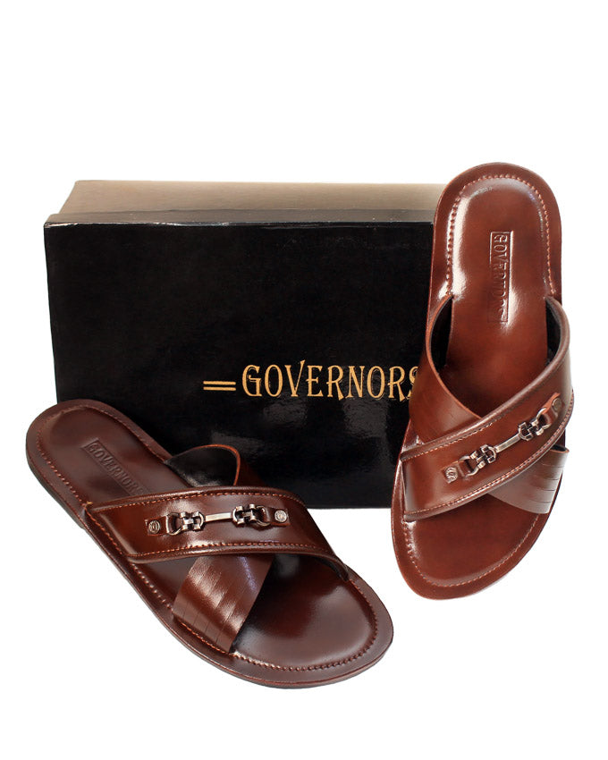GOVERNORS BROWN CROSSTORN LEATHER SLIPPERS