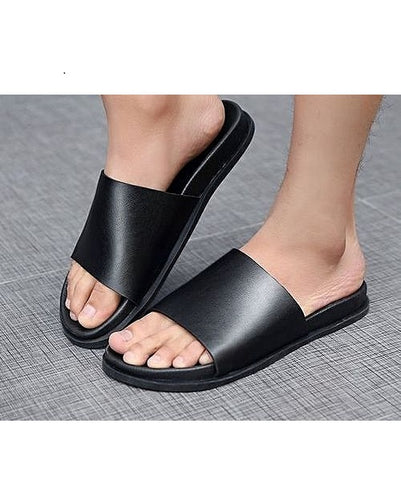 PURE BLACK LEATHER SLIDES - GOVERNORS