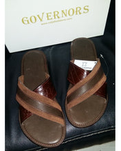 Governors Suede Alligator SKin Cross Mix Slippers - Brown