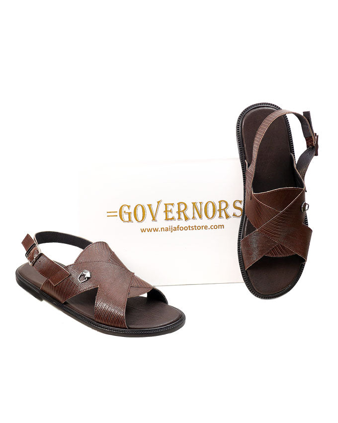 Brown Skin Leather Mature Governors Sandals