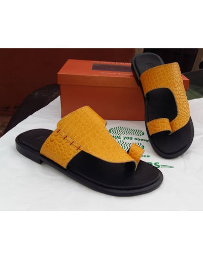 Alligator Skin Yellow Slippers For Men