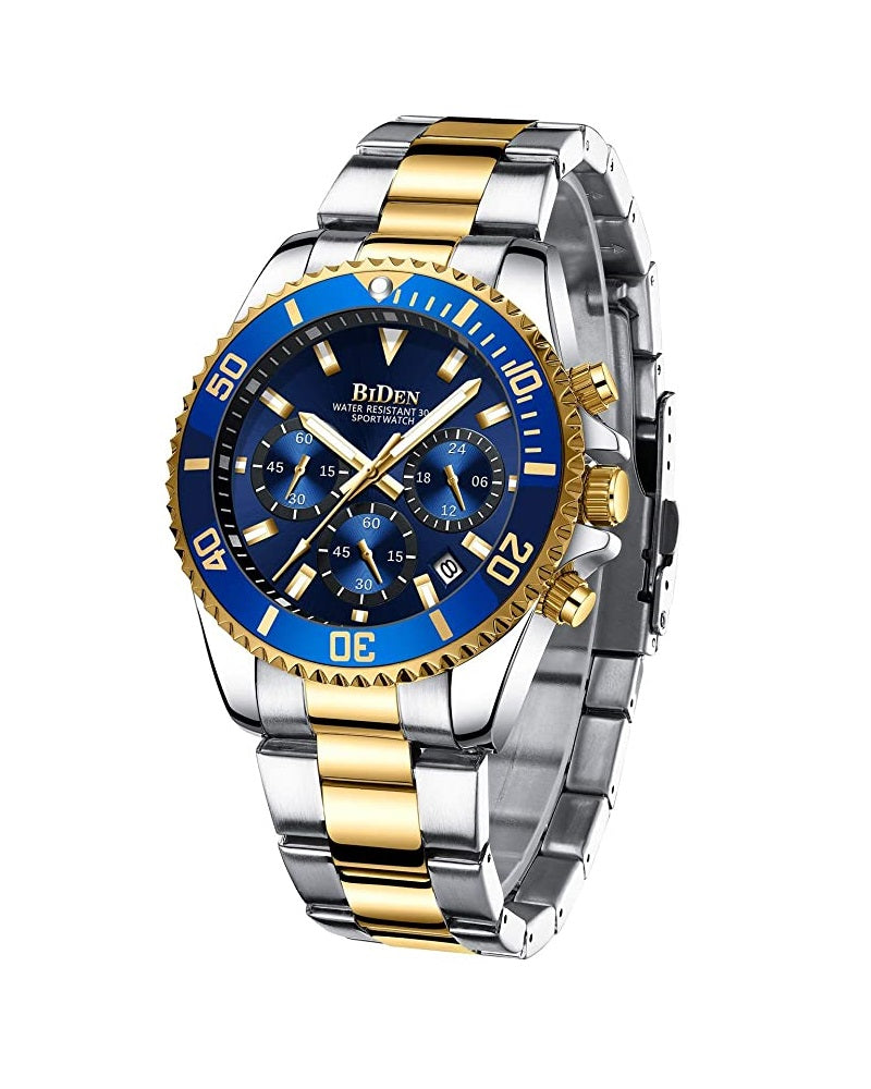 BIDEN SUBMARINE HOMAGE LUXURY WATCH -  GOLD & BLUE DIAL DETAIL (PREORDER ONLY)