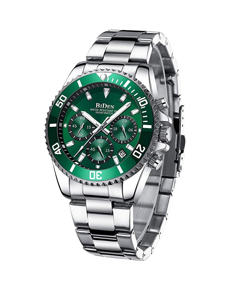 BIDEN SUBMARINE HOMAGE LUXURY WATCH -  SILVER AND GREEN  (PREORDER ONLY)