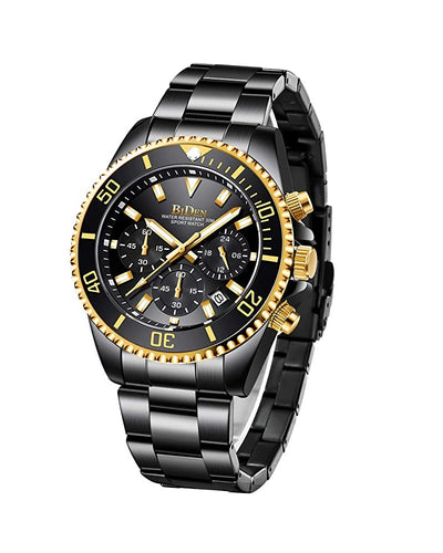 BIDEN SUBMARINE HOMAGE LUXURY WATCH -  BLACK WITH GOLD DIAL DETAIL (PREORDER ONLY)
