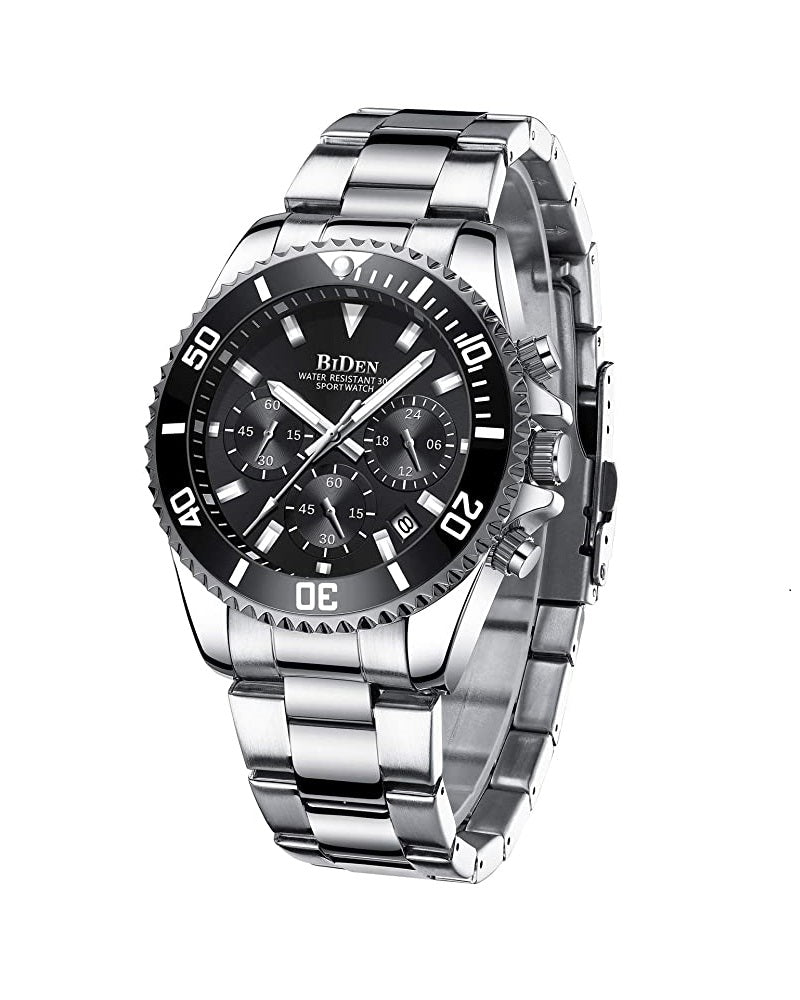 BIDEN SUBMARINE HOMAGE LUXURY WATCH -  SILVER AND BLACK (PREORDER ONLY)