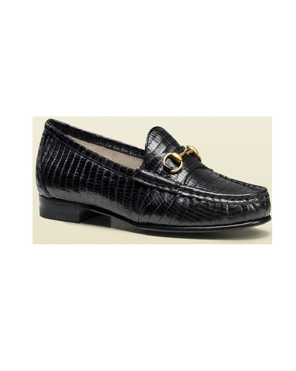Black Snake Skin Loafers With Golden Horsebit Detail