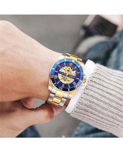 BIDEN AUTOMATIC BLUE/GOLD/SILVER WATCH - MECHANICAL