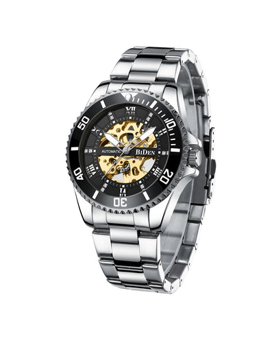 BIDEN AUTOMATIC SILVER WATCH (BLACK DIAL) - MECHANICAL