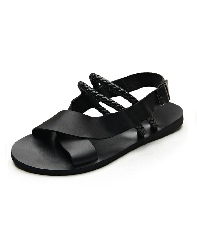 Cross sandal with double thong detail - Black