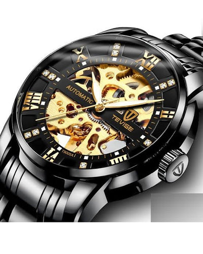 Automatic ALL Black Luxury Skeleton Business Watch - Mechanical Movement (PREORDER ONLY)