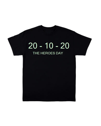 2020 HEROES (GLOW IN THE DARK) - BLACK T SHIRT
