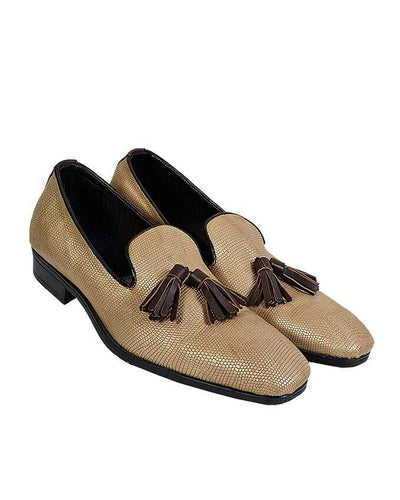 ALLIGATOR SKIN LOAFERS WITH TASSEL DETAIL