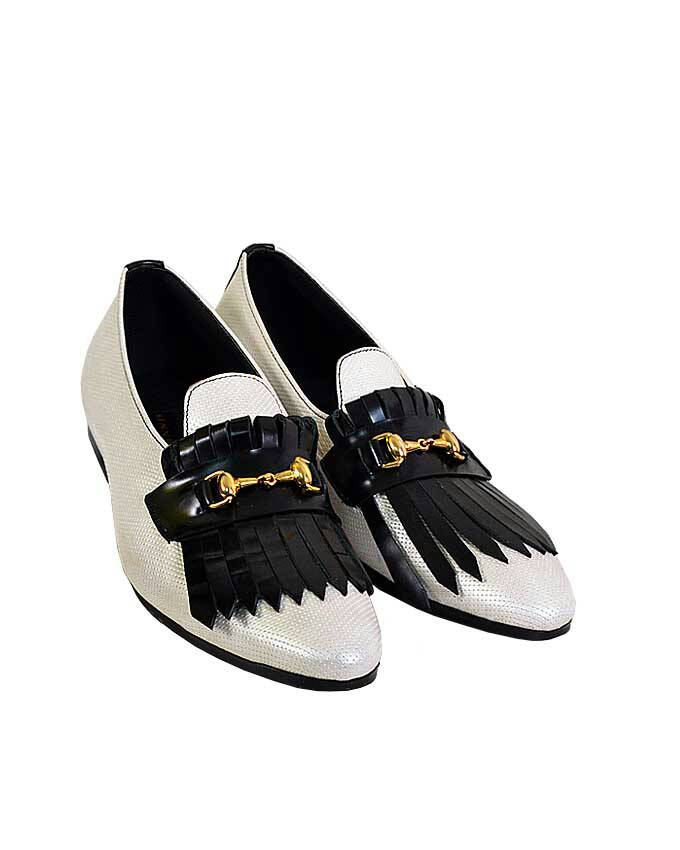 KENN BANKS DOTTED LEATHER OXFORD LOAFERS - WHITE