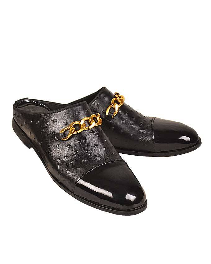 Ostrich Skin/Patent Fade Half Shoe with Chain Detail