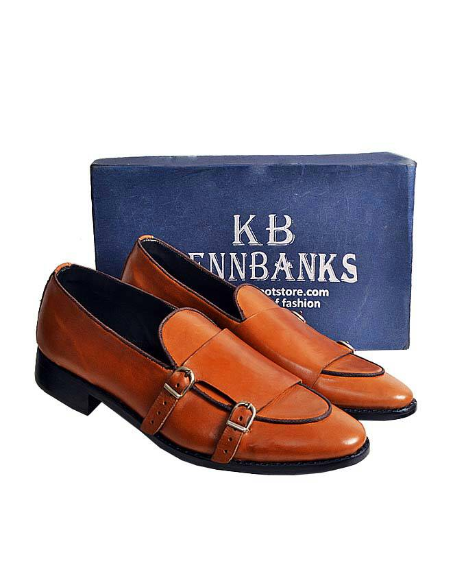 Kenn Banks Belgian Double Buckle Monk Strap - Brown