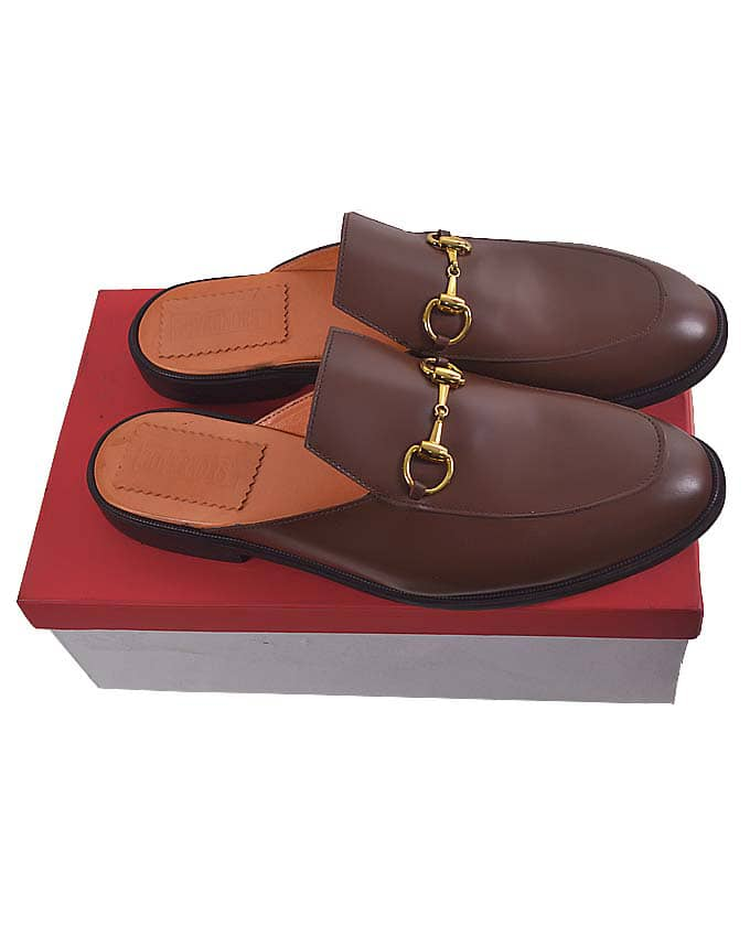 BROWN LEATHER HORSEBIT HALF SHOE