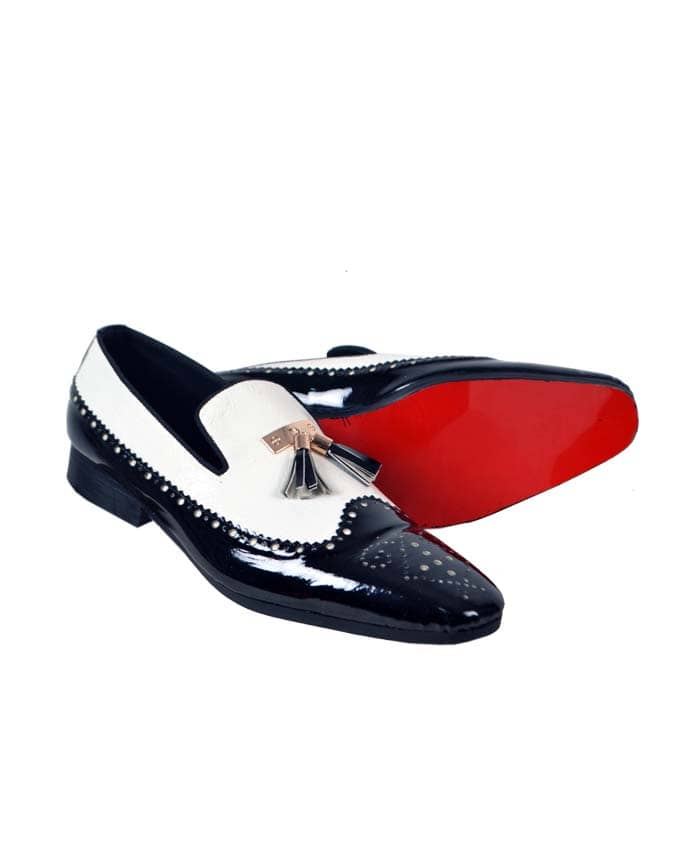 White and Black Brogues with Tassel