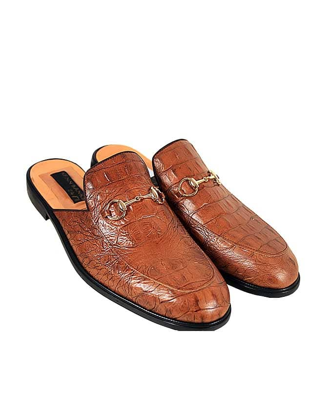 BROWN SKIN LEATHER HORSEBIT HALF SHOE