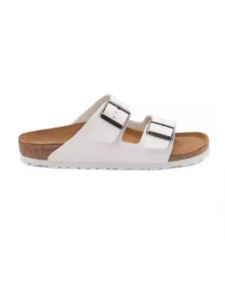 White Double Buckle Slippers