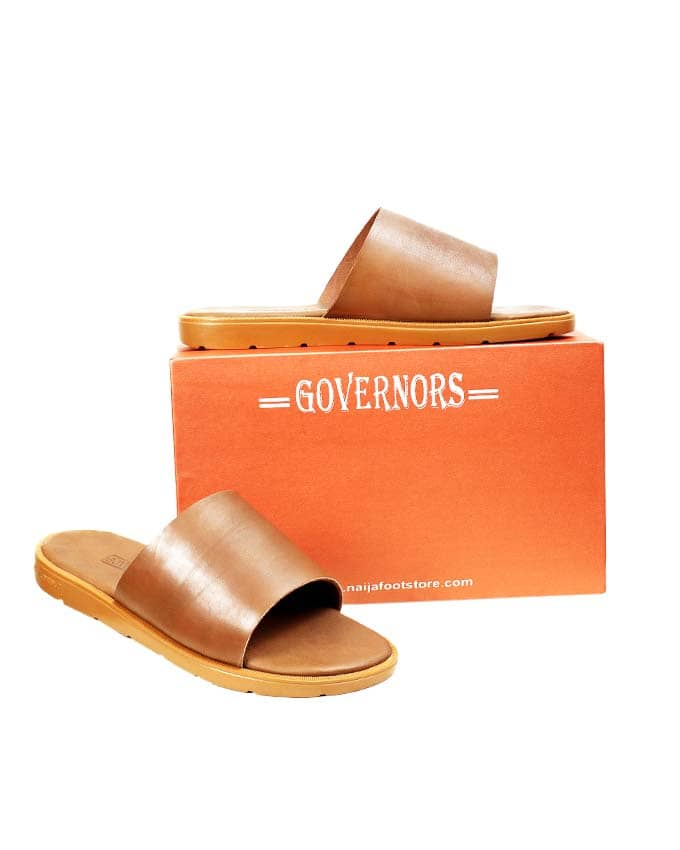 BROWN LEATHER SLIDES - GOVERNORS