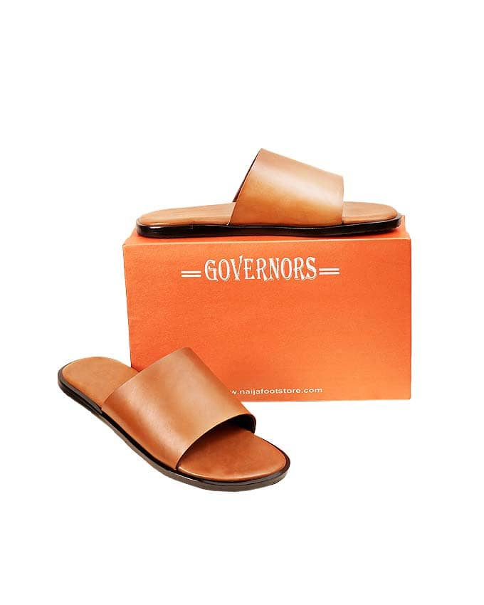 BROWN LEATHER SLIPON SLIDES