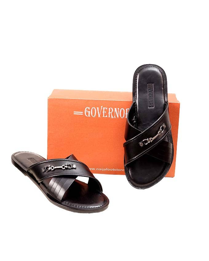 GOVERNORS BLACK CROSSTORN LEATHER SLIPPERS