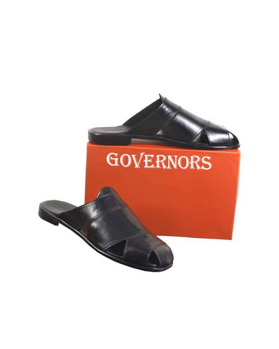 GOVERNORS ALL BLACK COVER LEATHER SLIPPERS