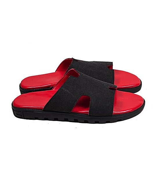 KENN BANKS RED/BLACK SLIPPERS H SLIDES