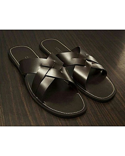 KENN BANKS CRISS/CROSS SLIPPERS - BLACK
