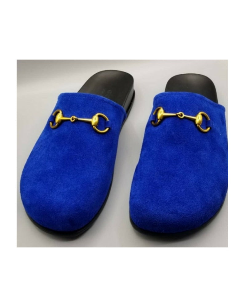 Men's Suede Flat Horsebit Shoe - Blue