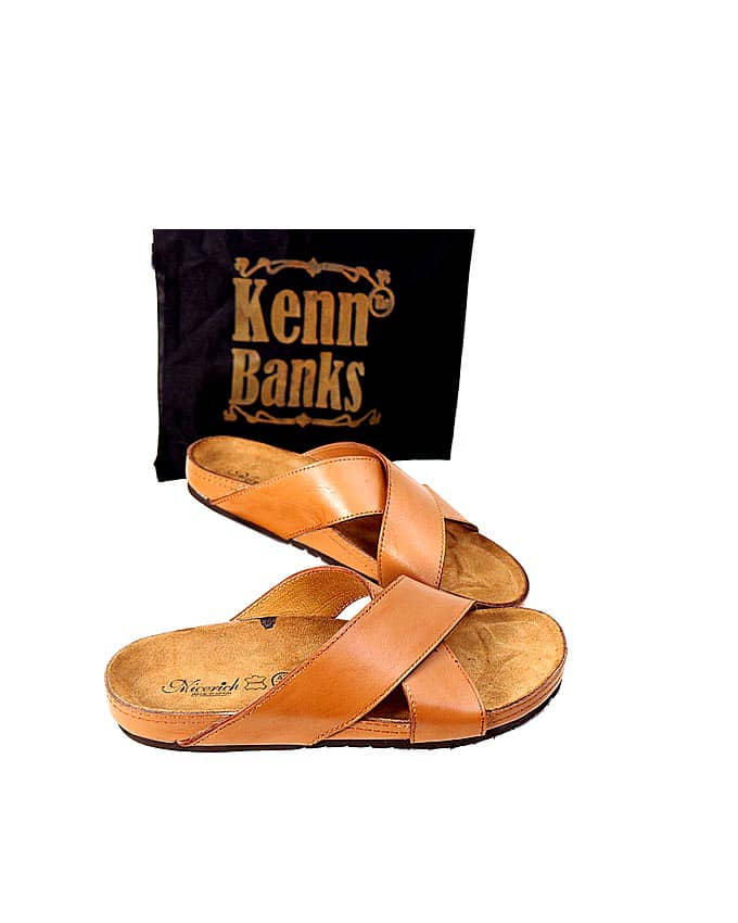 Kenn Banks Brown Cross Leather Slippers