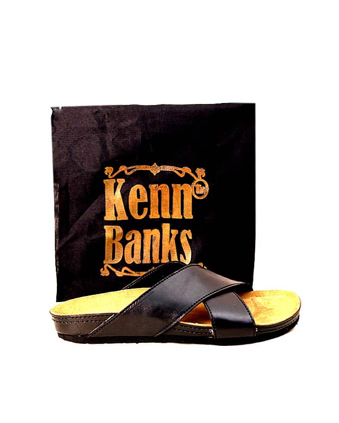 Kenn Banks Black Cross Leather Slippers