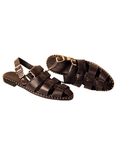 Matured Men Studded Sandal With Silver Buckle - BLACK