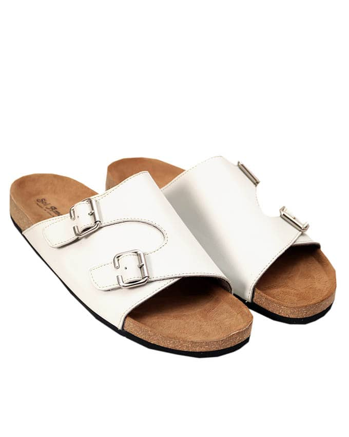 Kenn Banks Men Double Buckle Monksrap Slippers (White)