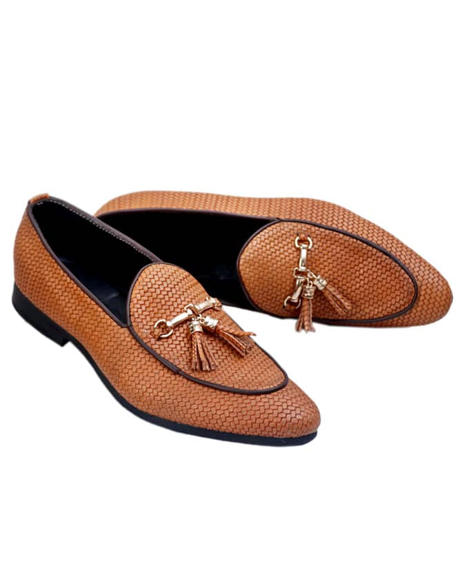 NET LEATHER BELGIAN LOAFERS - BROWN