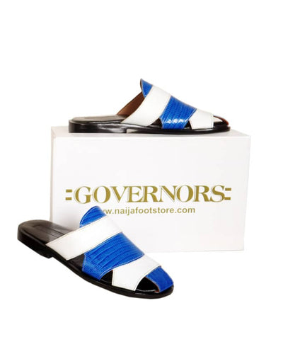 Two Toned Governors Leather Slippers  - White/Blue