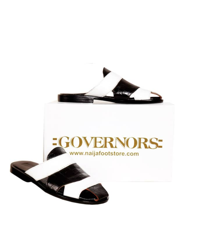 Two Toned Skin Governors Leather Slippers - White/Black