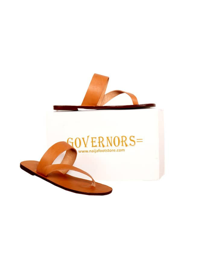 Simple Strand Governors Leather Slippers - Brown