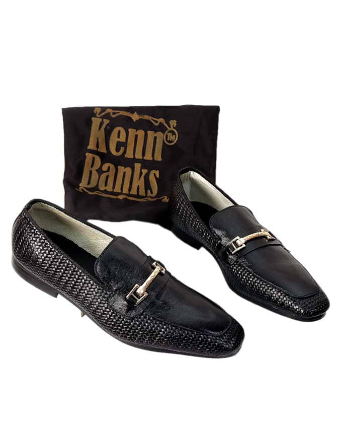 Kenn Banks Net Leather Chain Loafers
