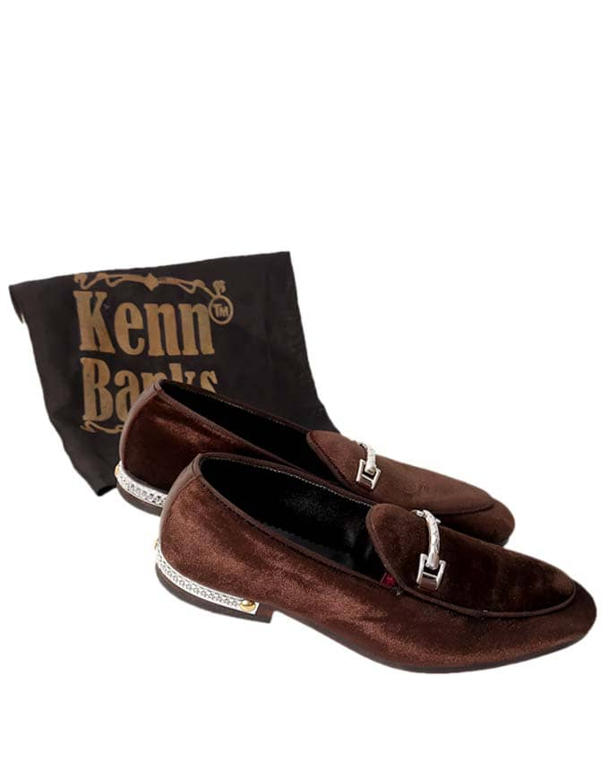 Kenn Banks Velvet Belgian Loafers - Coffee Brown