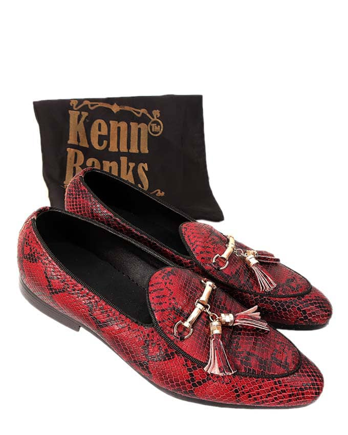 Kenn Banks Python Skin Belgian Loafers - Oxblood red